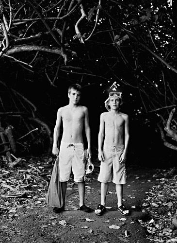 Boys on trail in Hawaii